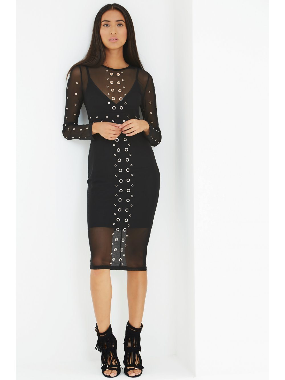 Black Mesh Overlay Eyelet Detail Midi Dress