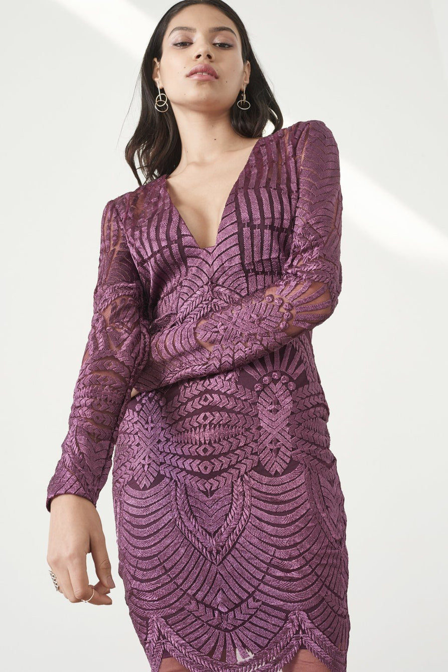 Premium Purple Embroidered Mesh Deep Plunge Mini Dress