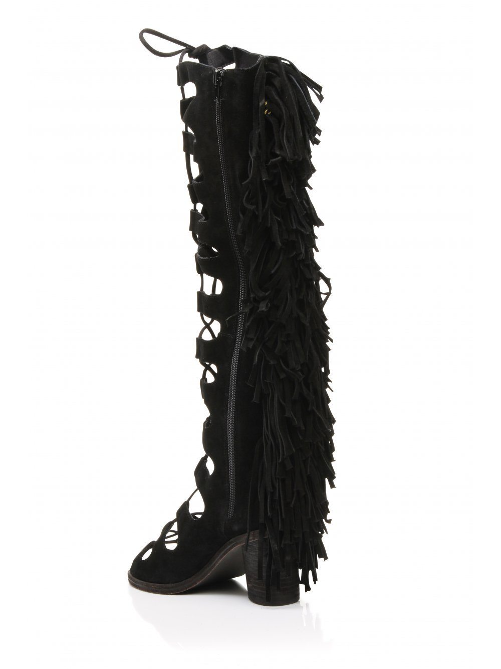SECOUER Black Suede Fringe Detail Lace Up Open Toe Boots