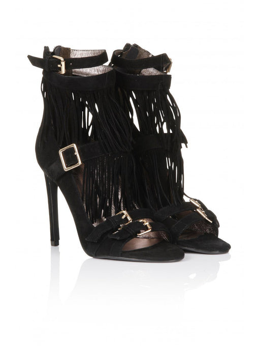 ADAIR Black Suede Tassel Sandals