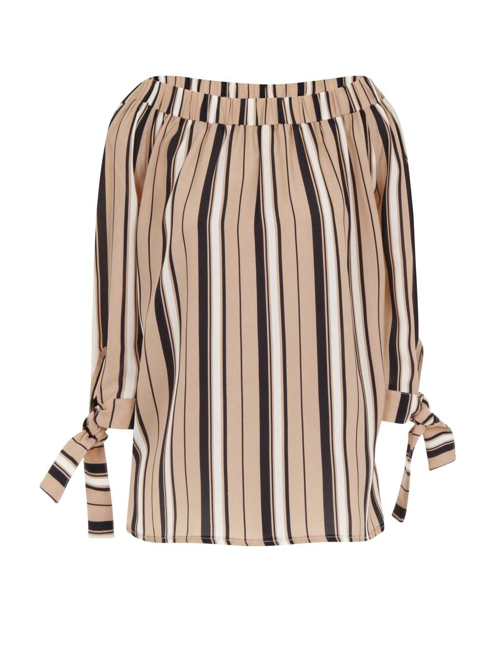 Camel, Navy & White Stripe Print Bandeau Tie Sleeve Top