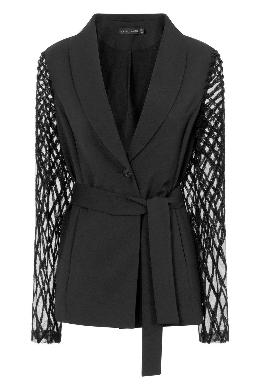 Black Cross Hatch Velvet Sequin Mesh Belted Blazer
