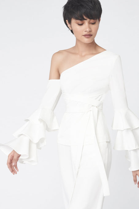 Ruffle Sleeve Asymmetric Top in White