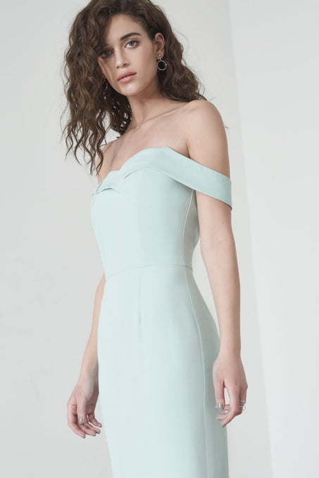 Tailored Bardot Dress in Mint