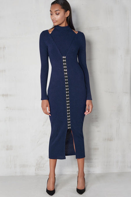 Navy Rib Knit Plunge Detail Hook & Eye Detail Midi Dress