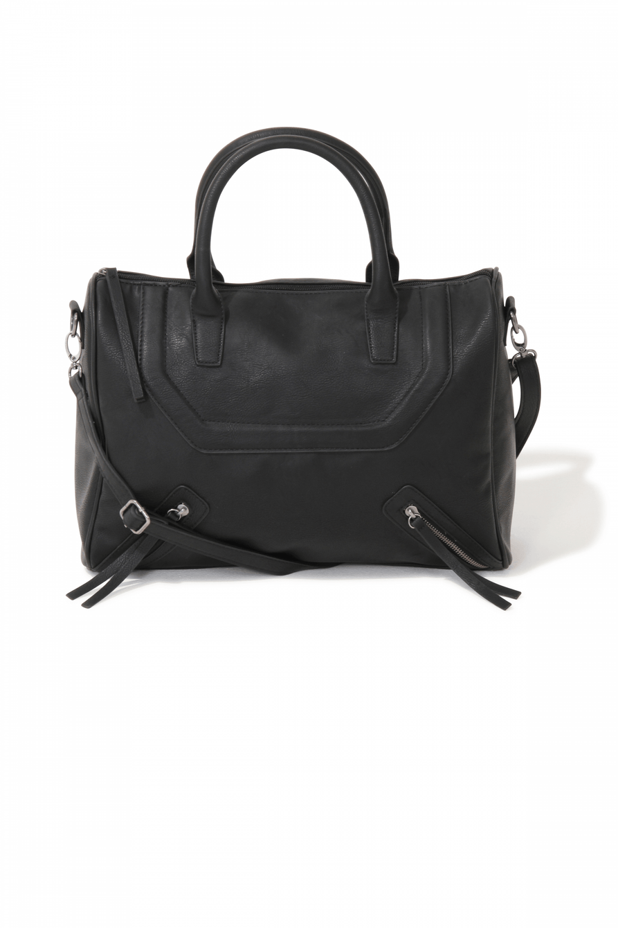Black Sporty Style Zip Detail Tote Bag