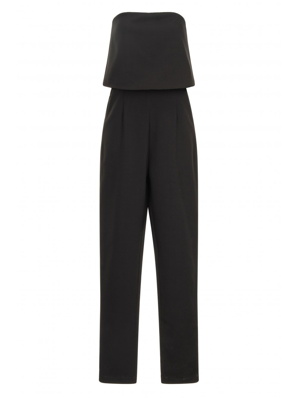 Black Bandeau Split Back Cropped Jumpsuit