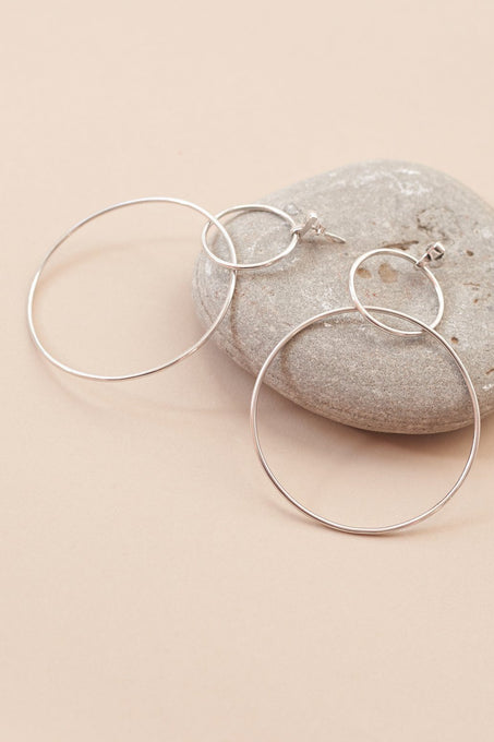 Double Circle Drop Earrings in Sterling Silver