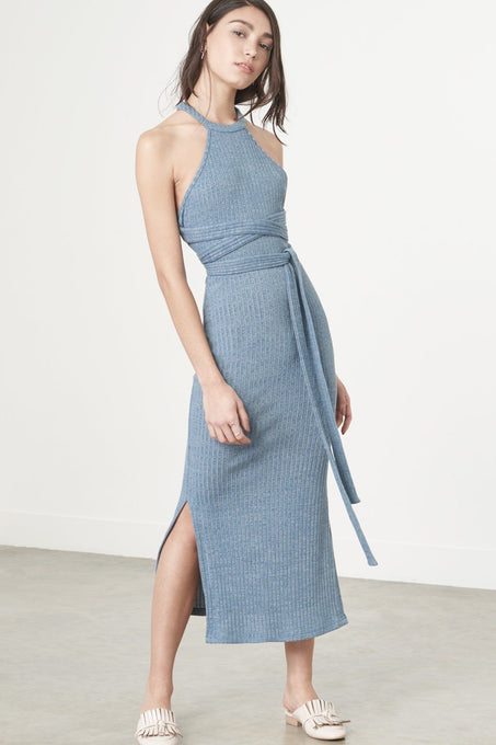 Racer-Cut Dress in Dusty Blue Knit
