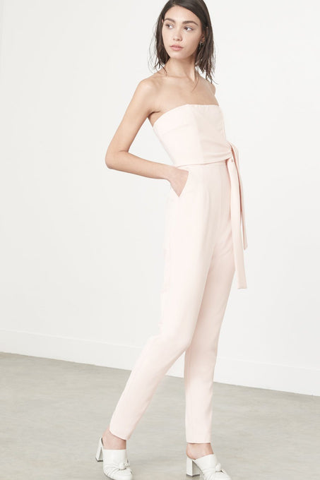 Tie Front Strapless Jumpsuit in Soft Pink