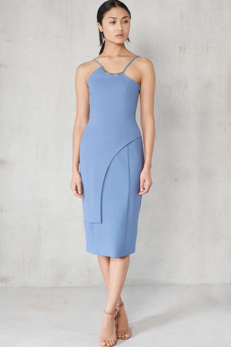 Petrol Blue Metal Trim Neckline Overlay Midi Dress