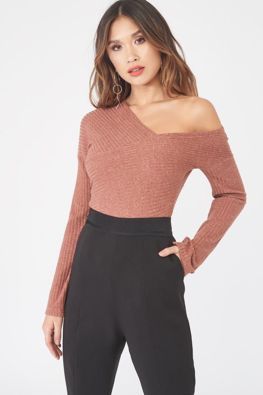 Asymmetric Rib Knit Jumper