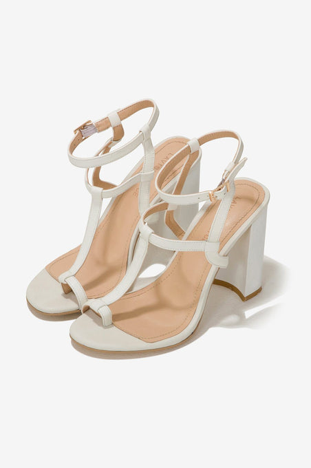 Leather Heeled Sandals in Ivory