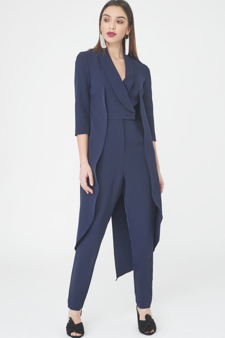 Tailored Waistcoat Jumpsuit in Navy