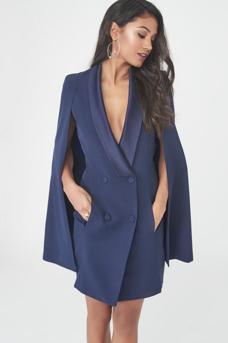 Double Breasted Satin Lapel Cape Dress