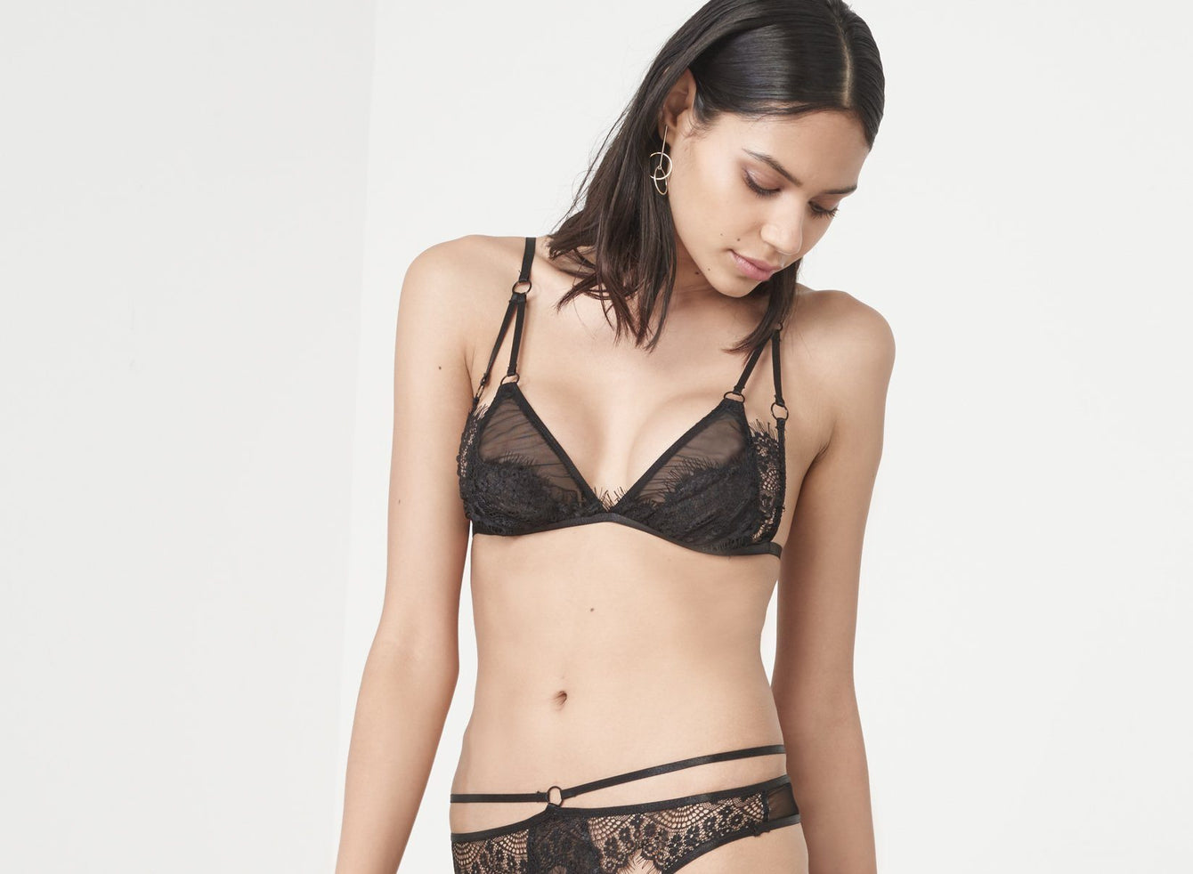 Black Scallop Lace Mesh Overlay Triangle Bralet