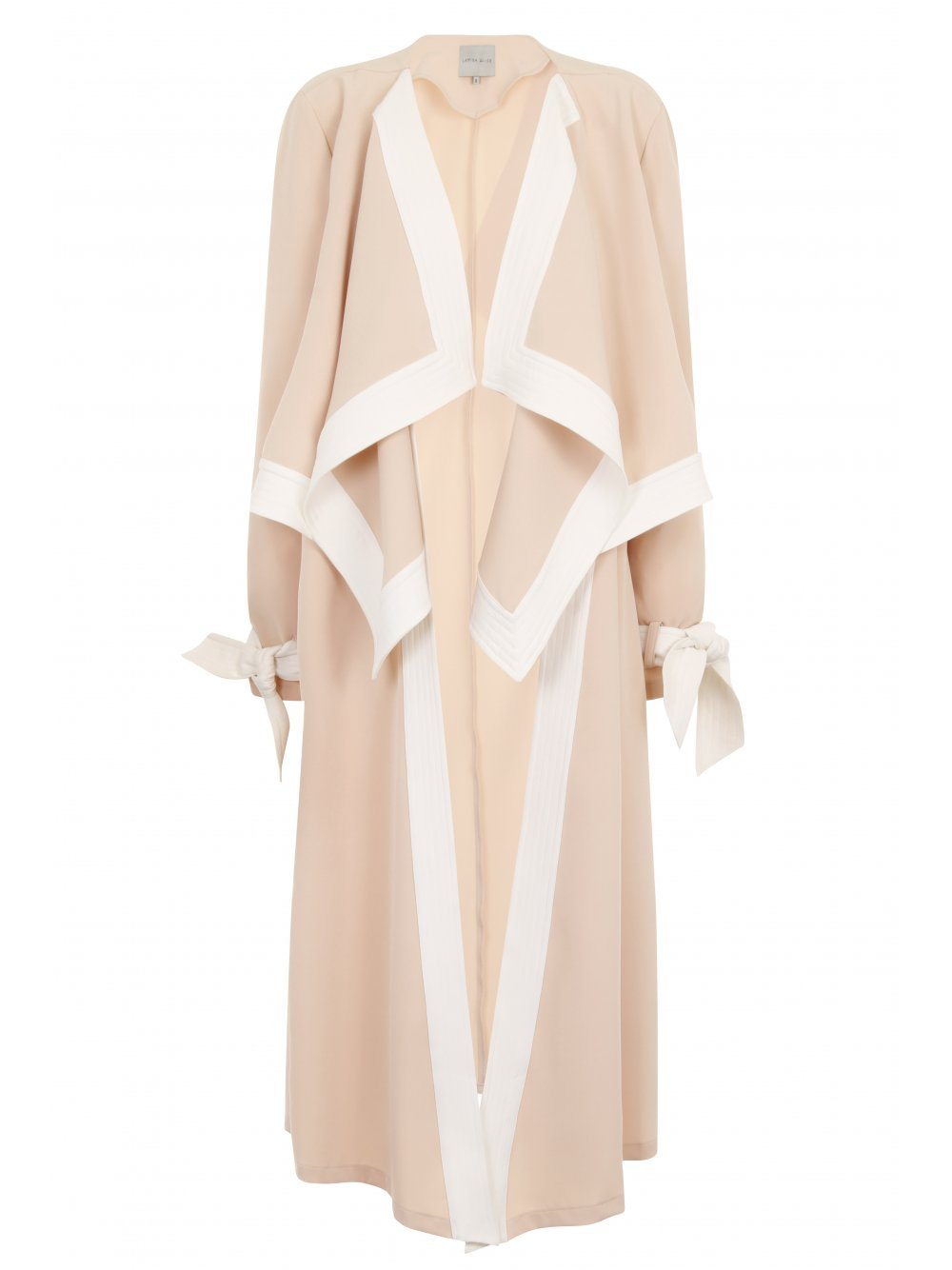 Nude & White Contrast Stitch Sash Tie Oversized Collar Tailored Coat