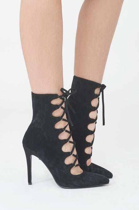 Lace Up Suede Stiletto Boots in Black