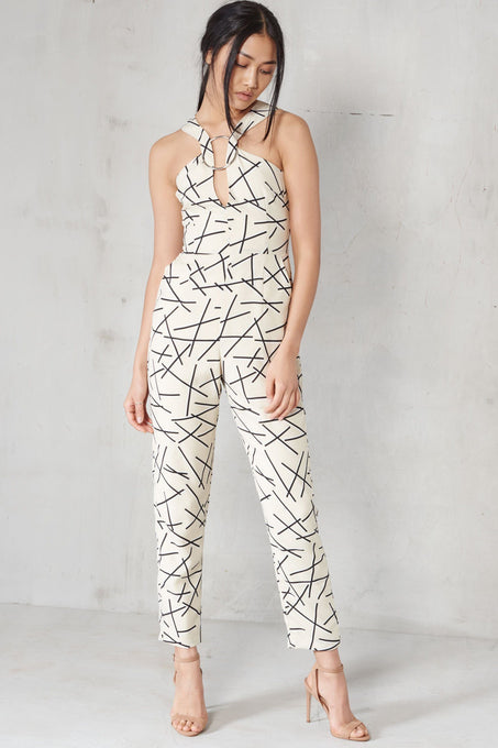 Cream & Black Abstract Print Metal Ring Plunge Detail Jumpsuit