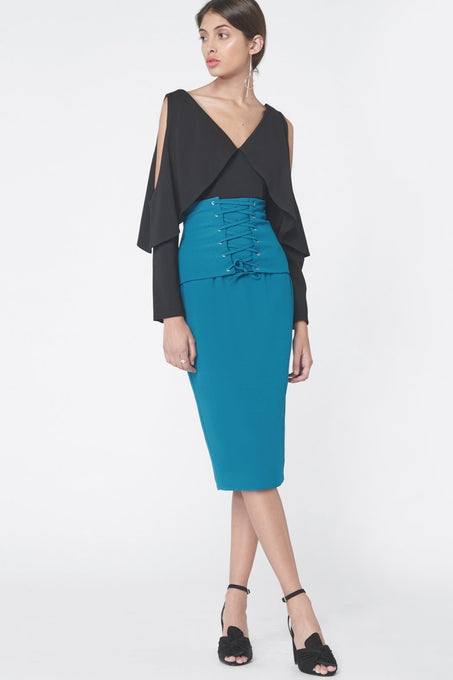 Corset Panel Midi Skirt in Teal
