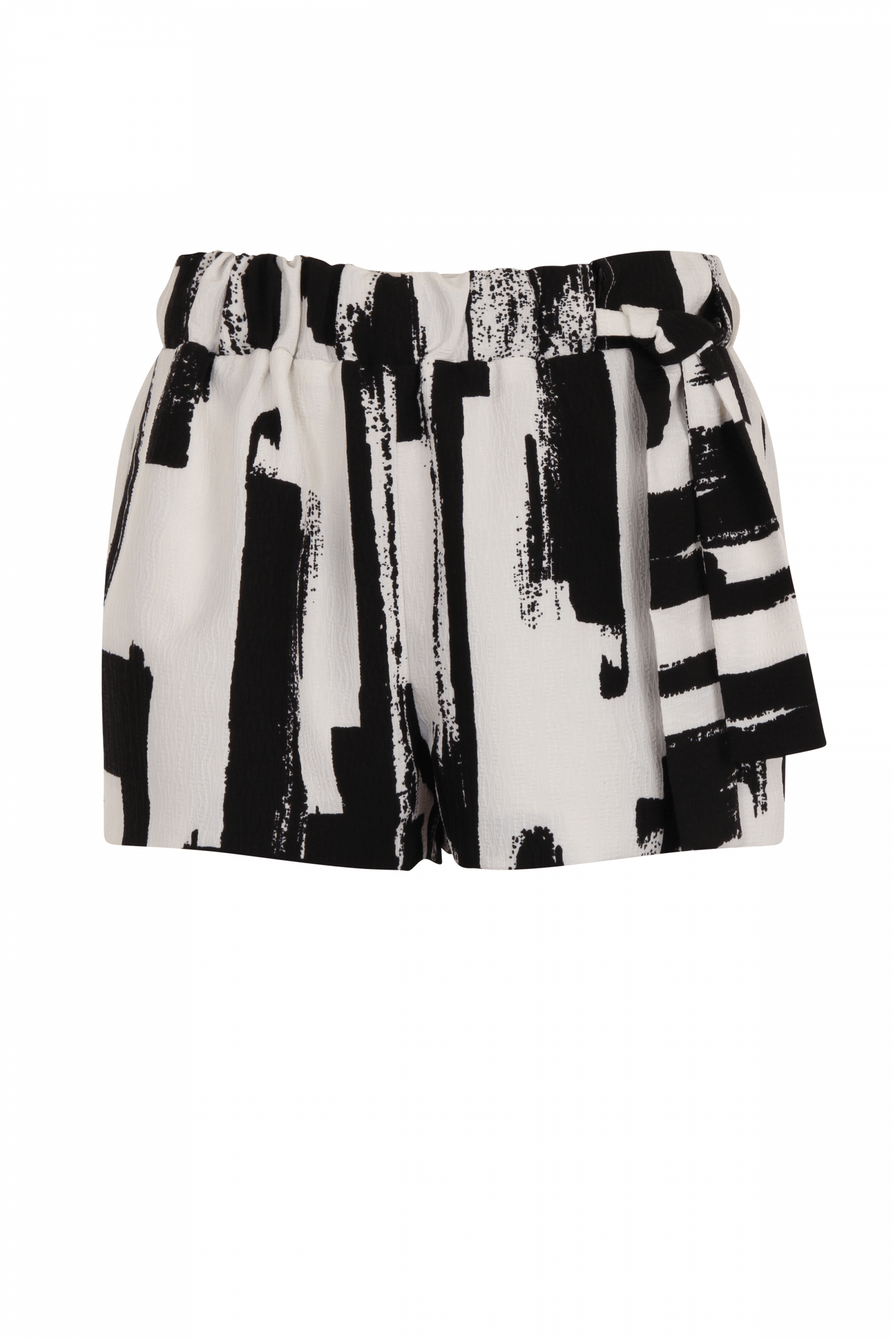 Monochrome Brush Print Tie Side Shorts