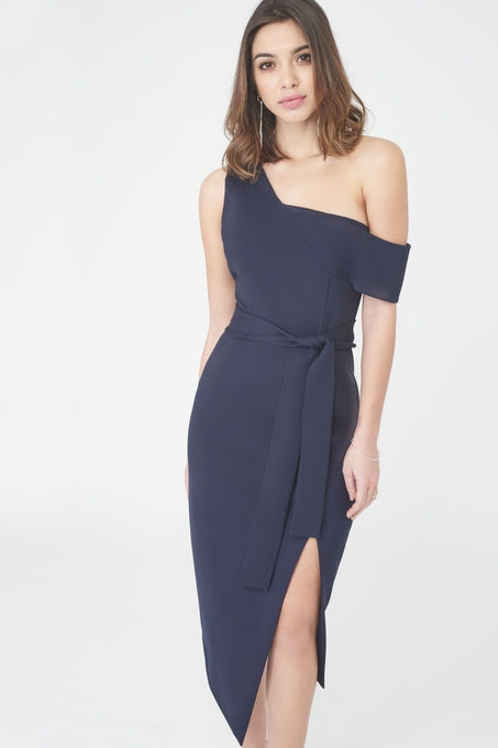 Asymmetric Midi Dress in Navy