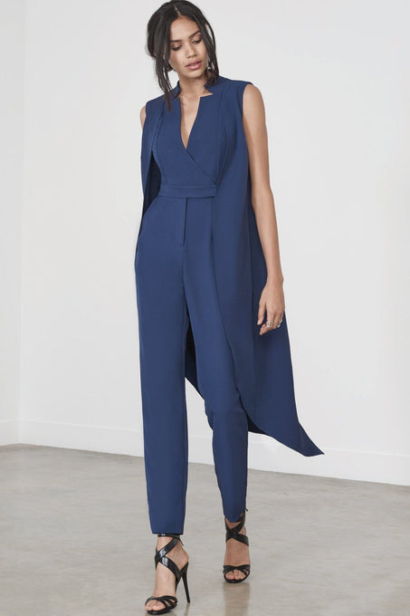 Sleeveless Tailcoat Jumpsuit in Ink