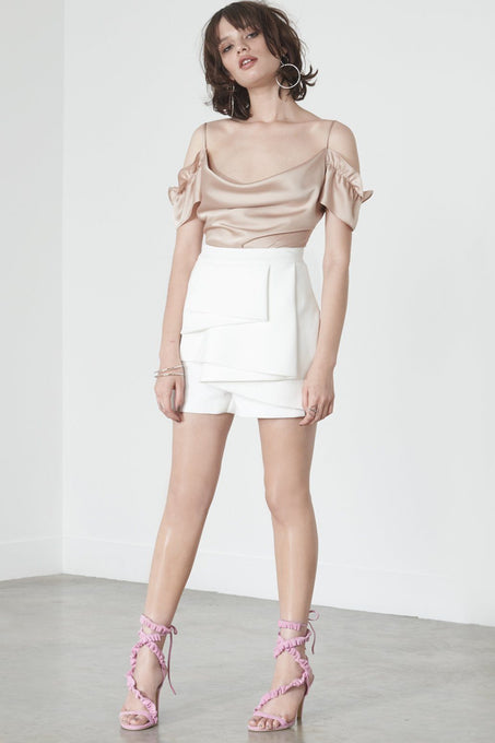 Tailored Origami Shorts in Off White