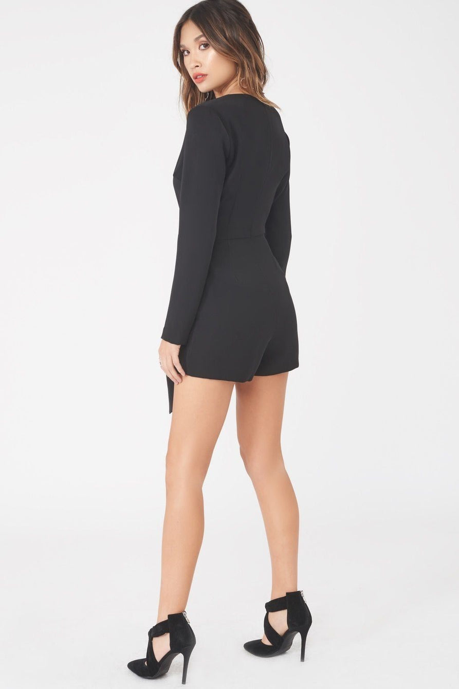 Asymmetric Fold Over Playsuit in Black