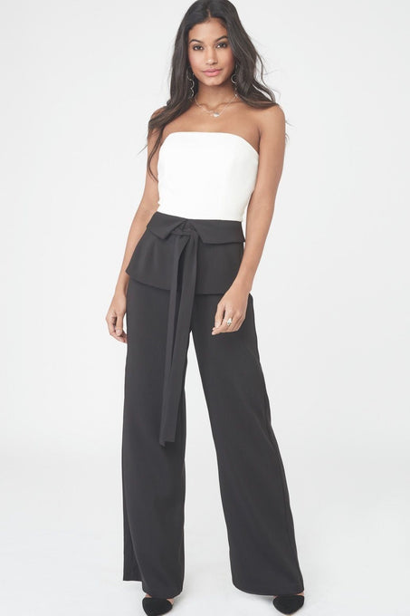 Strapless Jumpsuit with Corset Belt