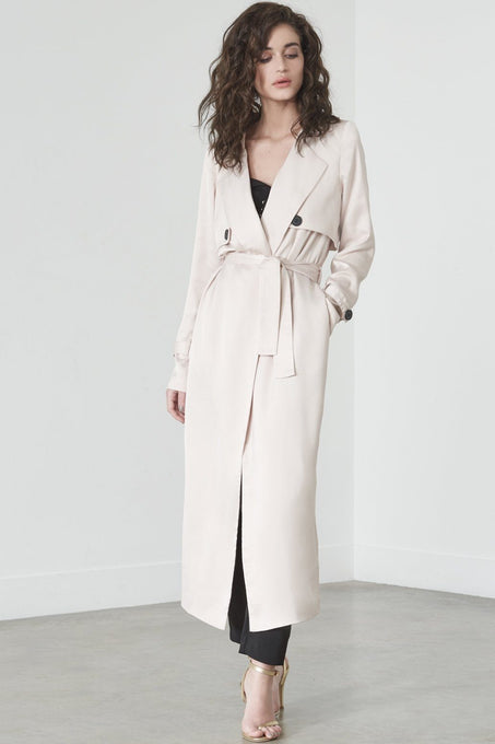 Trench Coat in Sand Satin