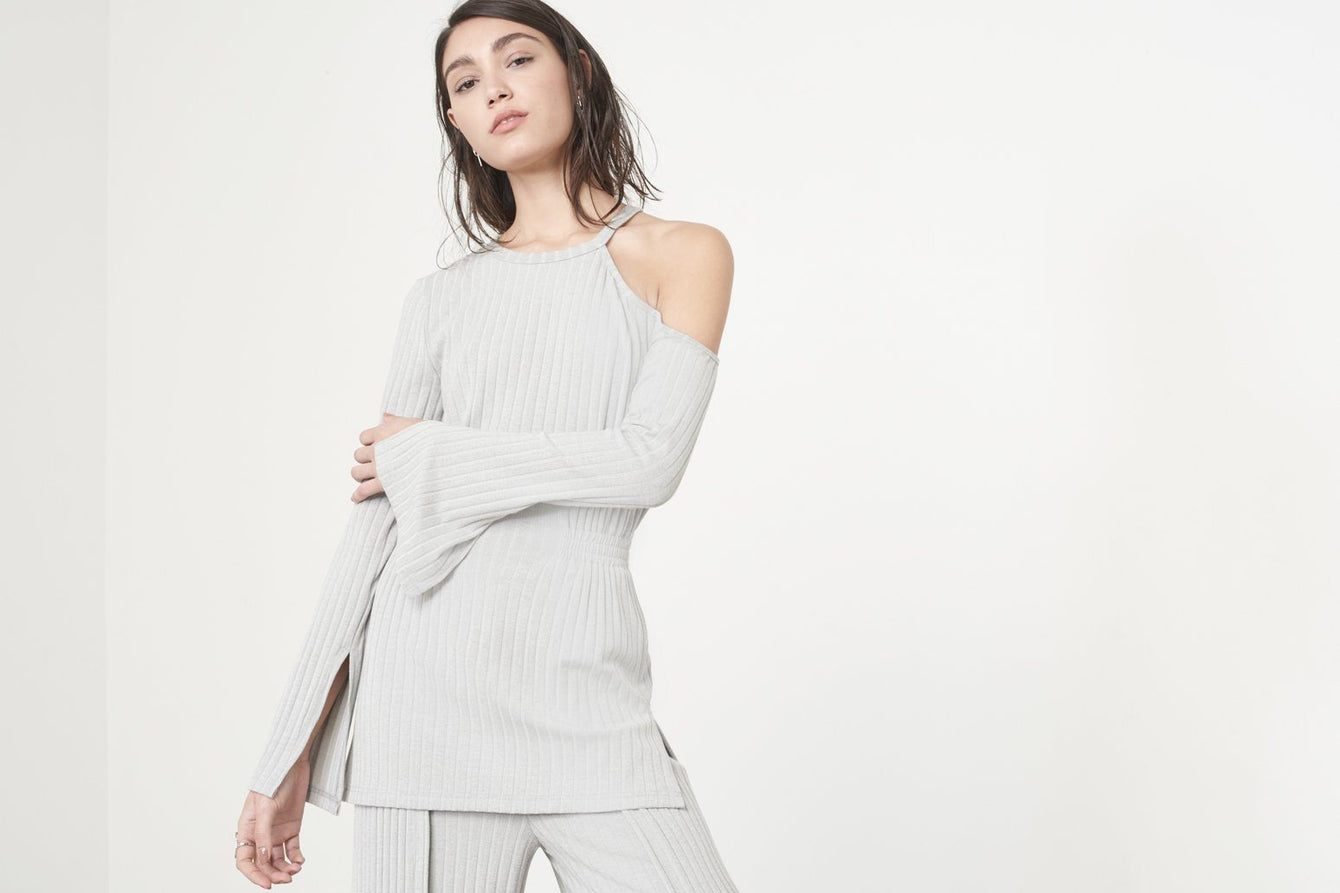 Cutaway Asymmetric Tunic Top in Grey Knit