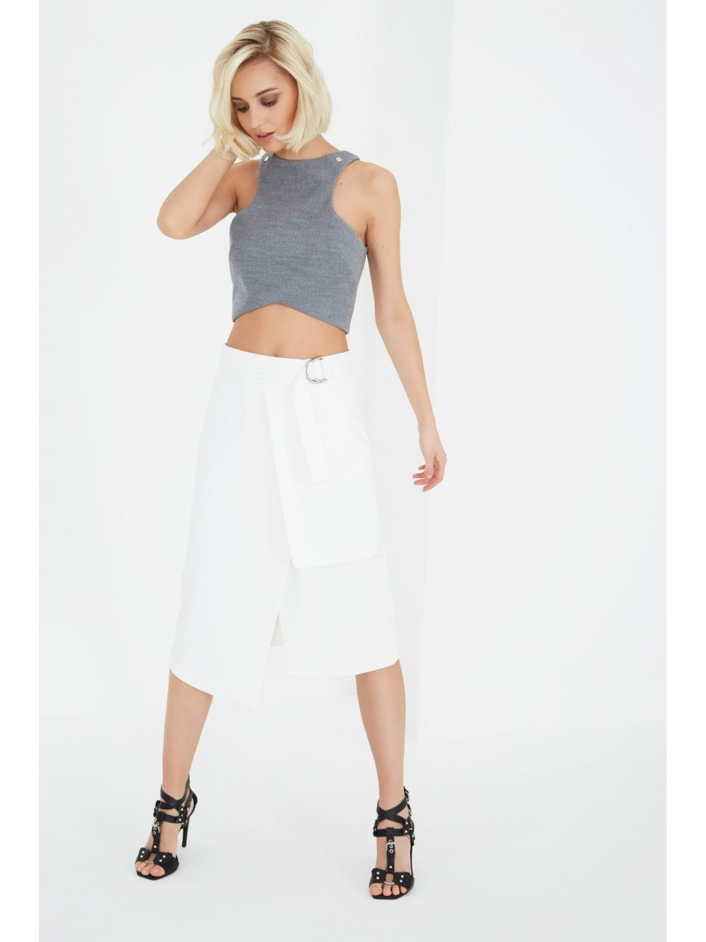 White Layered Split D-Ring Tie Skirt
