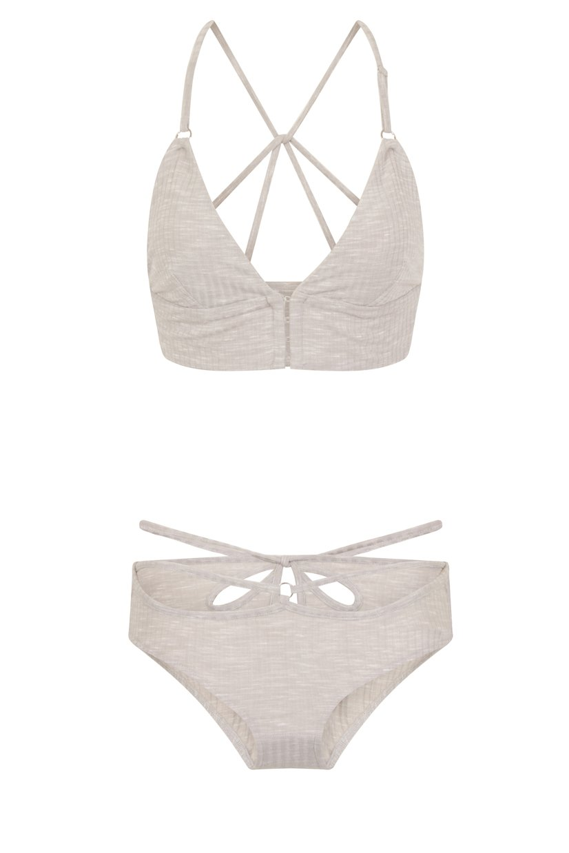 Grey Marl Rib Jersey Hook & Eye Front Strap Back Detail Bralet