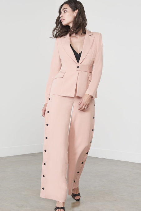 Button Side Trousers in Deep Blush