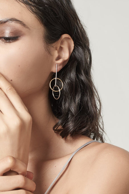 Sterling Silver Gold Plated Double Hoop Earrings