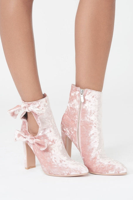 Velvet Cut Out Double Tie Ankle Boot
