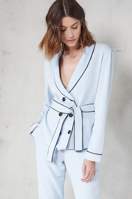 Baby Blue Pyjama Style Double Breasted Tie Belt Shirt