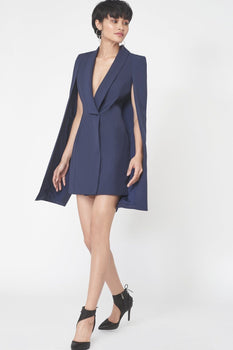 Split Back Cape Dress in Navy