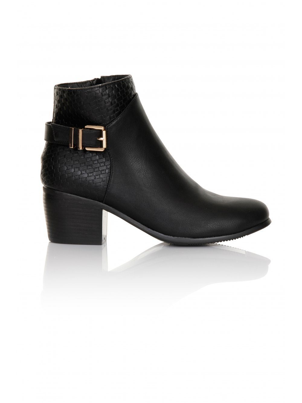 Black Weave Buckle Detail Boots
