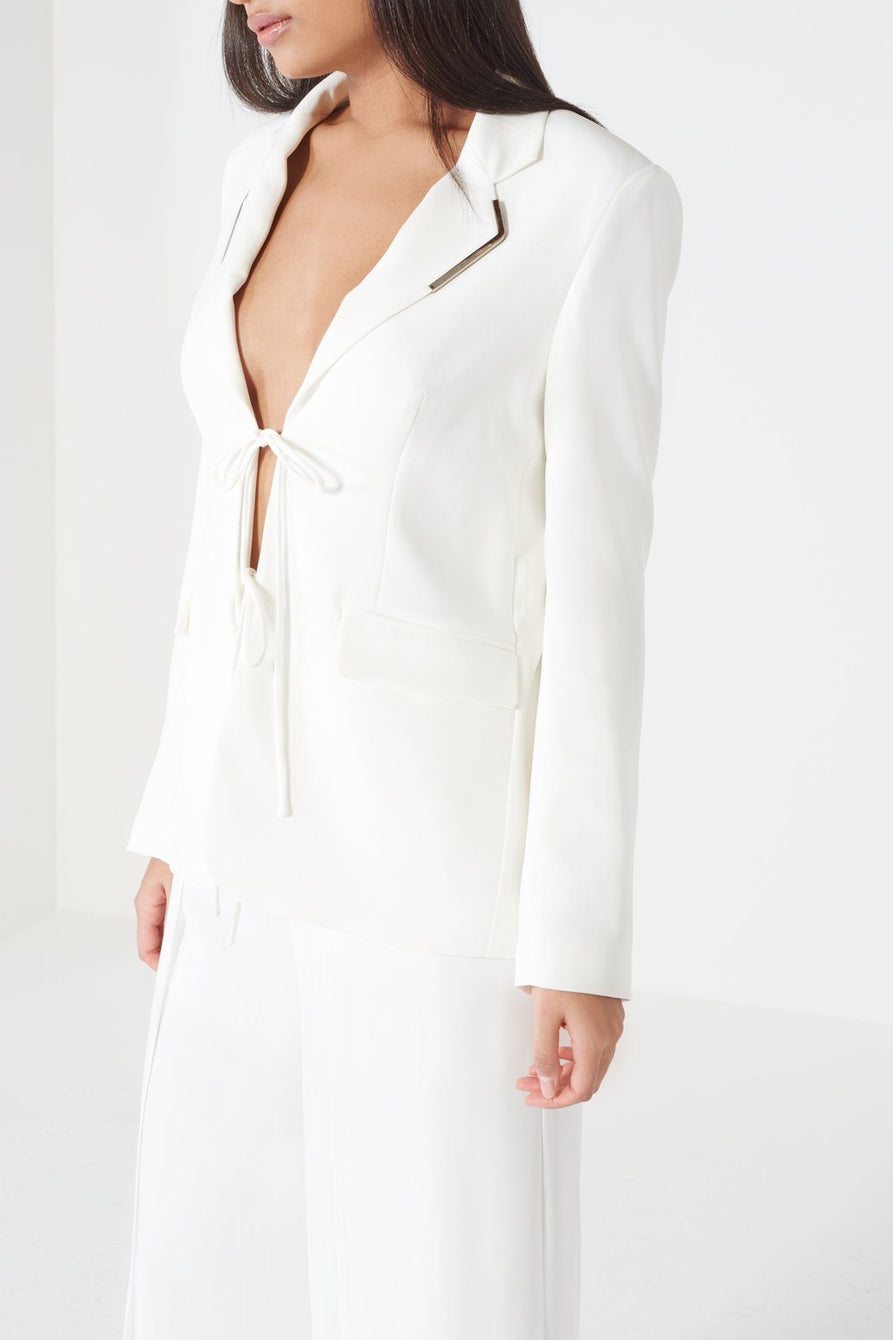 Off White Tie Front Metal Lapel Trim Split Back Blazer