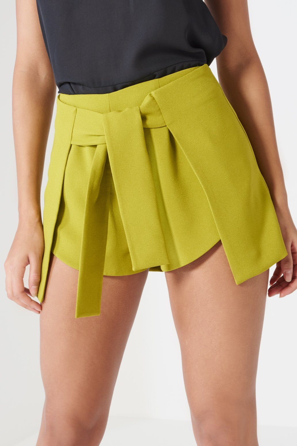 Olive Green Tie Front Side Split Shorts