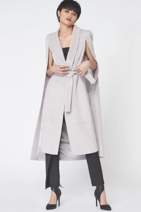 Tie Waist Wool Cape Coat in Dove Grey