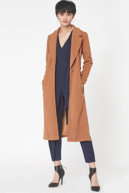 Wool Rich Split Panel Coat in Camel