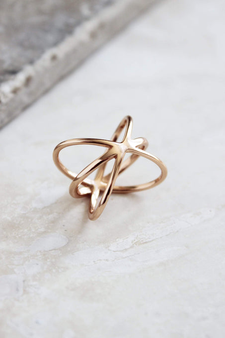 Sterling Silver Rose Gold Plated Oversized Orbit Ring