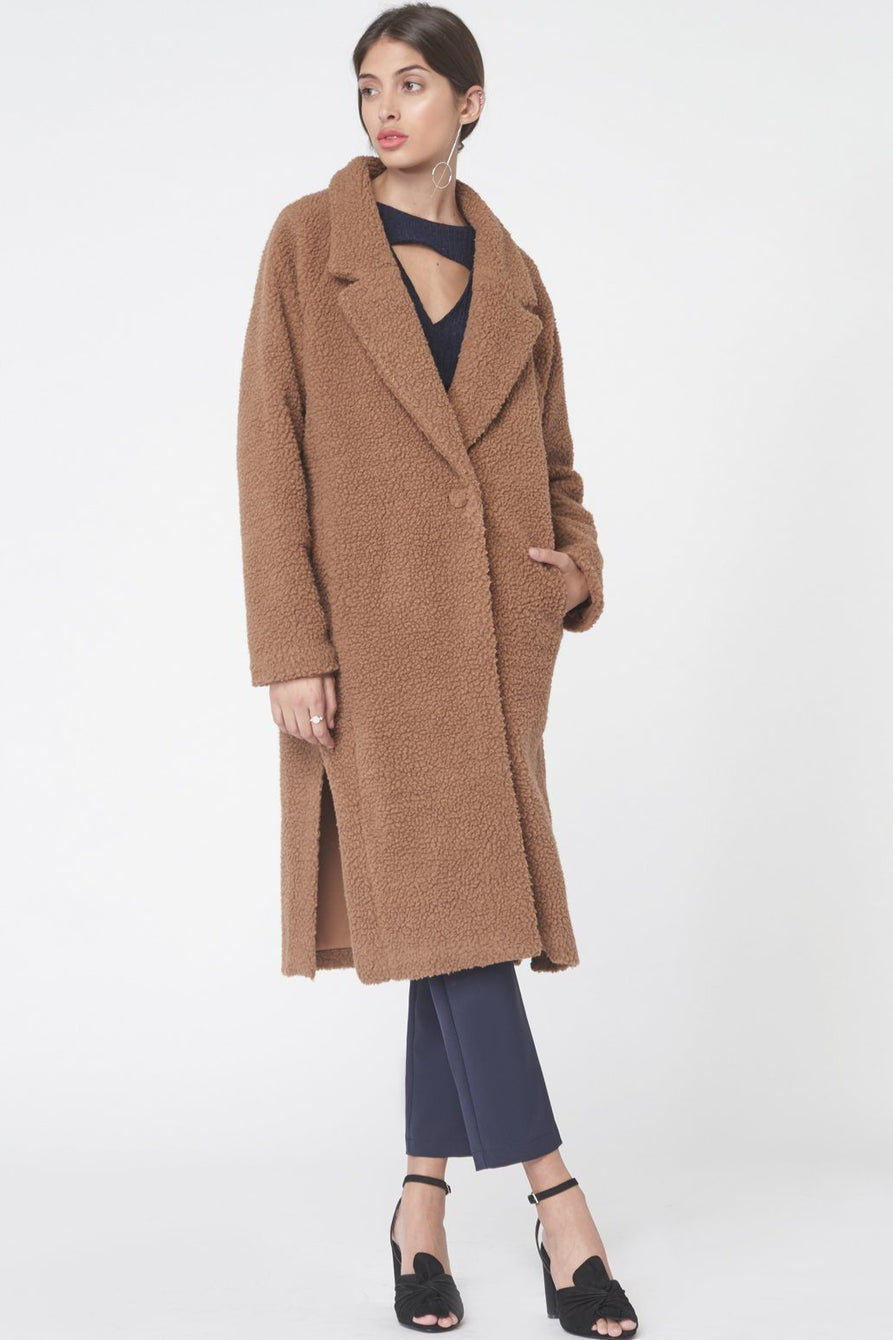 Teddy Bear Oversized Boyfriend Coat in Biscuit
