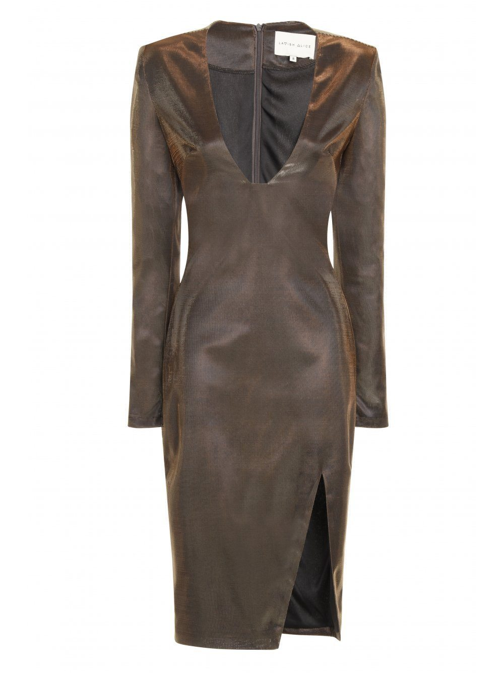 Black & Bronze Metallic Deep Plunge Side Split Midi Dress