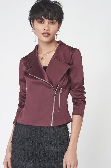 Satin Biker Jacket in Wine