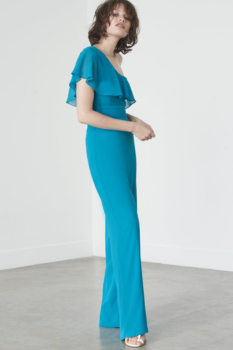 Asymmetric Overlay Jumpsuit in Teal Chiffon