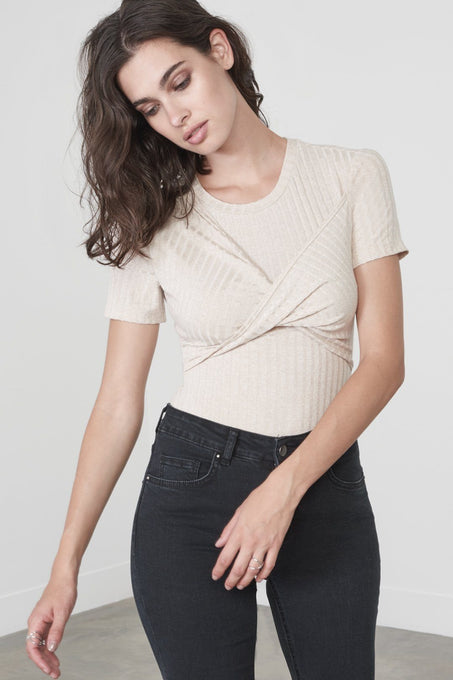 Twisted T-Shirt Bodysuit in Sand Knit